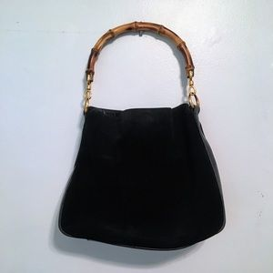Authentic Gucci Handbag, Suede with Bamboo Handle